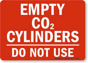Empty co2 cylinders do not use sign sku s 2035 mysafetysign com