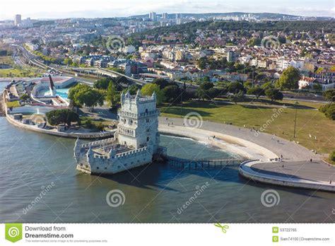 Castle Plans by Aerial View Of Belem Tower Torre De Belem In Lisbon