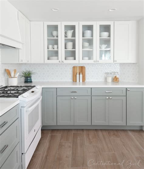 white upper cabinets grey lower kitchen remodel centsational style