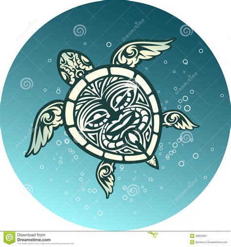 swimming sea turtle with polynesian tribal pattern stock