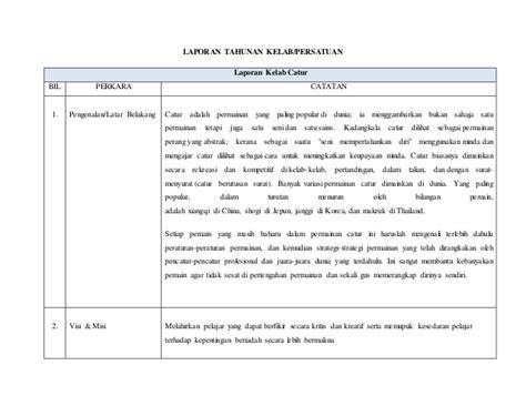 format laporan tahunan persatuan laporan tahunan