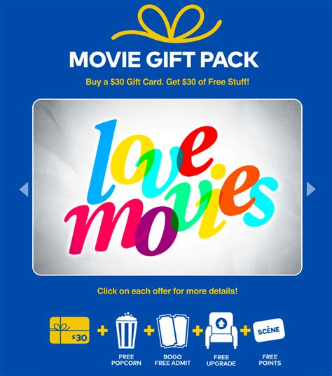 Buy Movie Gift Card - cineplex canada deal free movie gift pack 30 value with 30 gift card purchase