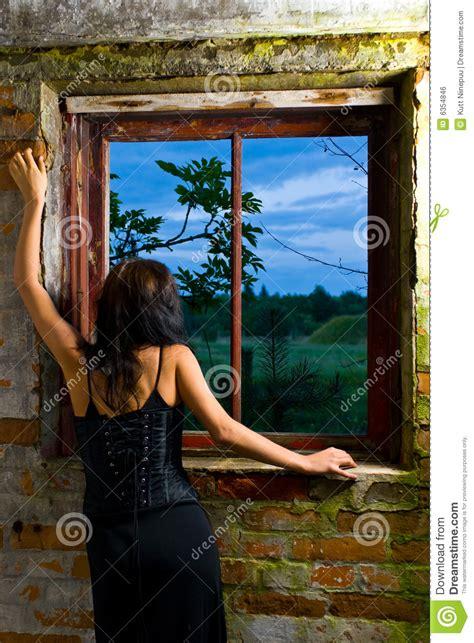 goth woman  window royalty  stock image image