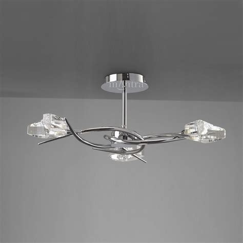 Chrome Flush Ceiling Lights by Mantra M1455 Eclipse 3 Light Chrome Semi Flush Ceiling Light