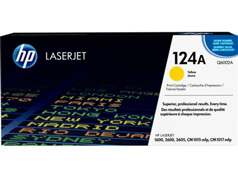 Toner Hp 124 A Yellow Q6002a Original hp 124a yellow laserjet toner cartridge