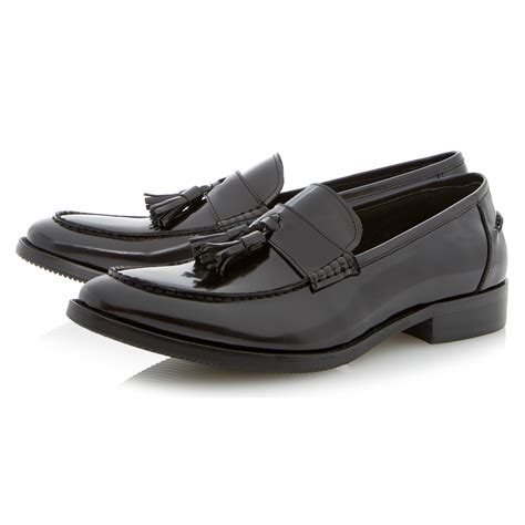black patent loafers dune ronnie patent leather tassle loafers in black lyst