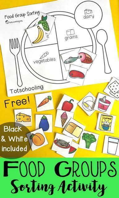 kindergarten activities nutrition teach kids about healthy eating with a food group sorting
