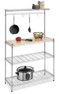 Bakers Rack With Cutting Board Bakers Rack Kitchen Storage Wood Cutting Board Chrome