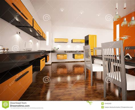modern kitchen interior 3d rendering modern orange kitchen interior 3d render stock