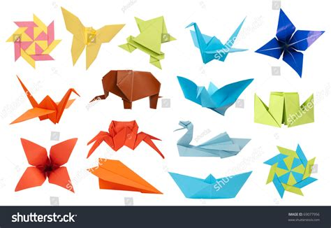 Paper Toys Origami - origami paper toys collection isolated on stock photo