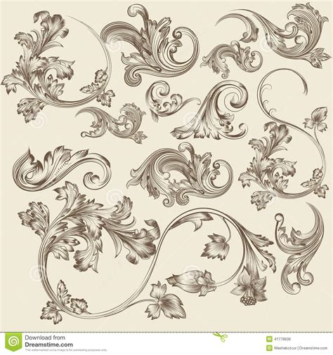 vintage design elements vector set 23 set of vector flourishes in vintage style stock vector