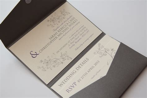 wedding invite pockets uk swirls silver grey purple pocketfold wedding invitation