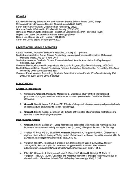 Sle Curriculum Vitae Grad School Psychology Cv Template 28 Images Curriculum Vitae Sle Psychology Images Professor Of