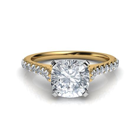 cusion cut diamond ring cathedral cushion cut diamond engagement ring in 14k