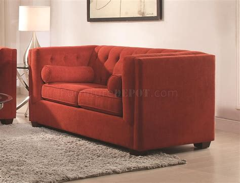 couch cairns cairns 504907 sofa in crimson fabric by coaster w options