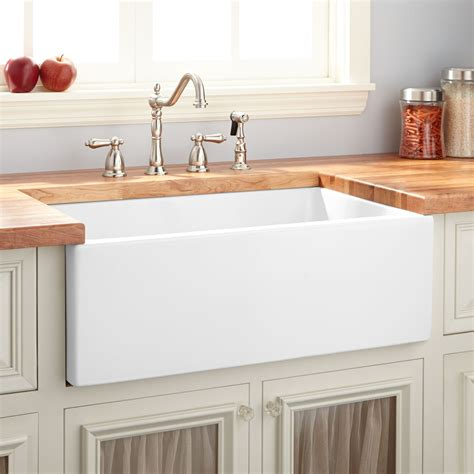 Top Kitchen Cabinets by 30 Quot Mitzy Fireclay Reversible Farmhouse Sink Smooth