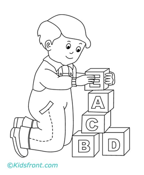 boy playing coloring page building blocks coloring page coloring pages