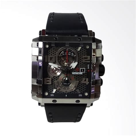 Jam Tangan Pria Expedition E 6742mt Silver Black Original jual expedition chronograph stainless steel leather jam