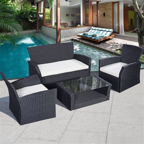 Black Patio Furniture Sets Affordable Variety 4 Pc Wicker Cushioned Outdoor Patio Furniture Set Garden Lawn Sofa Seat Black