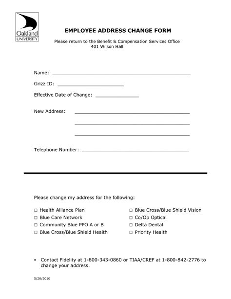 address change notice template address change form template masir