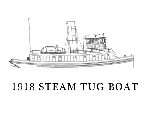 tugboat drawing line drawing of 1918 steam tugboat tugboats pinterest