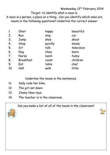 Noun Worksheet Year 1 by joop09 - Teaching Resources - Tes