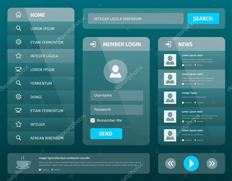 ui layout vector mobile ui template design with login stock vector