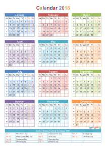 Calendar 2018 Pdf In 2018 Calendar With Holidays Week Numbers Pdf Image