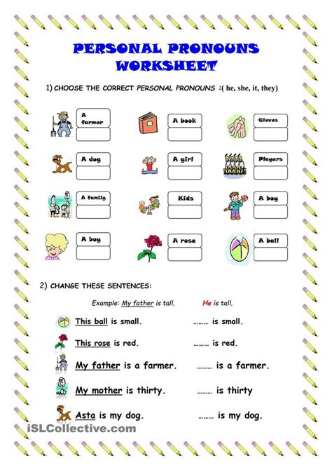 Pronoun Worksheet by Personal Pronouns Worksheet Kindergarten Level Learn