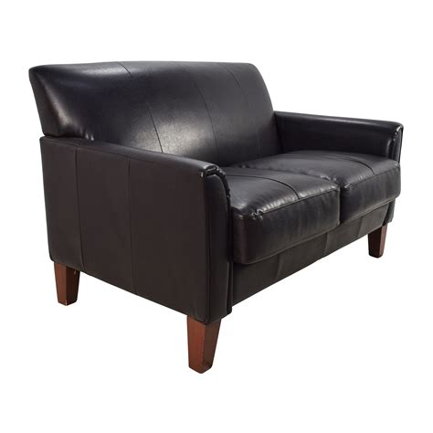 black leather loveseat 53 off black leather loveseat sofas
