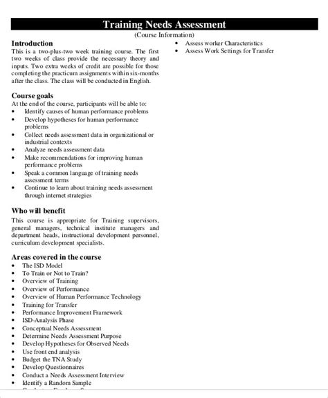 organizational needs analysis template 32 free needs assessment templates free premium templates