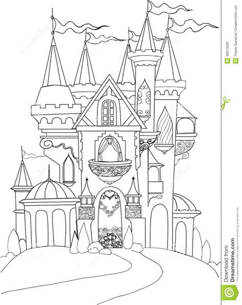 coloring book page drawing free coloring pages color book palace fairy tale stock