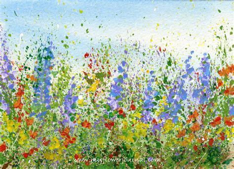 Flower Garden Drawings Create A Splattered Paint Flower Garden My Flower Journal