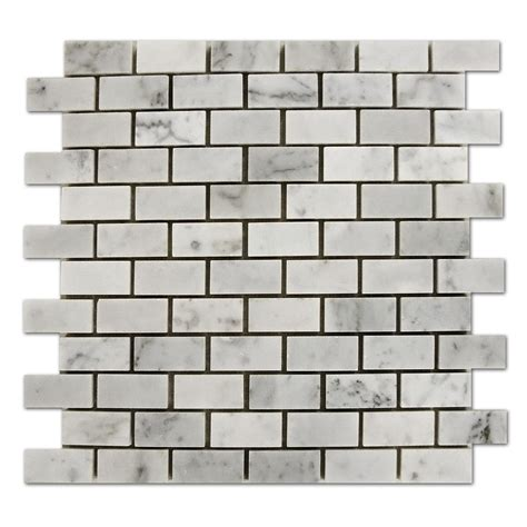 Brick Pattern Mosaic Tile   bianco white carrara marble 1x2 brick pattern honed mosaic