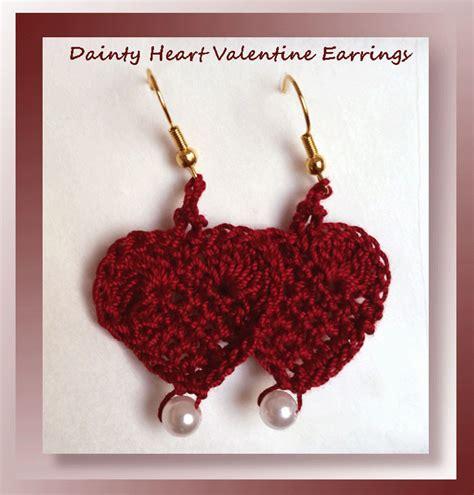 free crochet pattern heart earrings free crochet dainty heart valentine earring pattern
