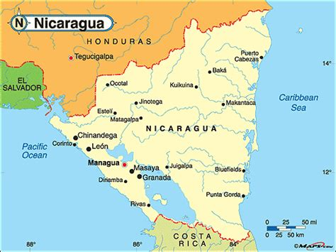 political map of nicaragua nicaragua political map by maps from maps world