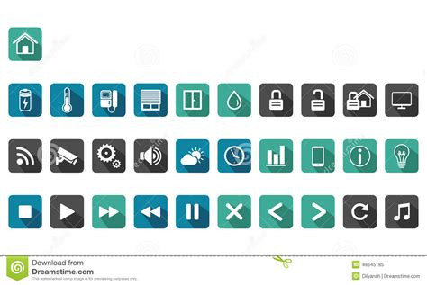 home automation smart home icon set stock vector image
