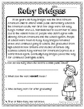 Ruby Bridges Worksheets by Ruby Bridges Reading Passage By The Techie Tpt