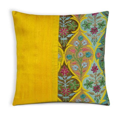 Pillow With Embroider S yellow kashmir embroidery silk pillow cover desicrafts