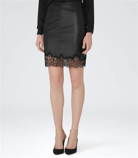 black lace trim leather skirt reiss