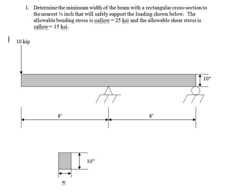 rectangular cross section 1 determine the minimum width of the beam with
