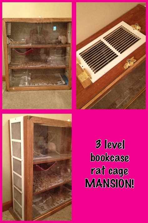 bookcase turned into 3 level rat cage mansion this