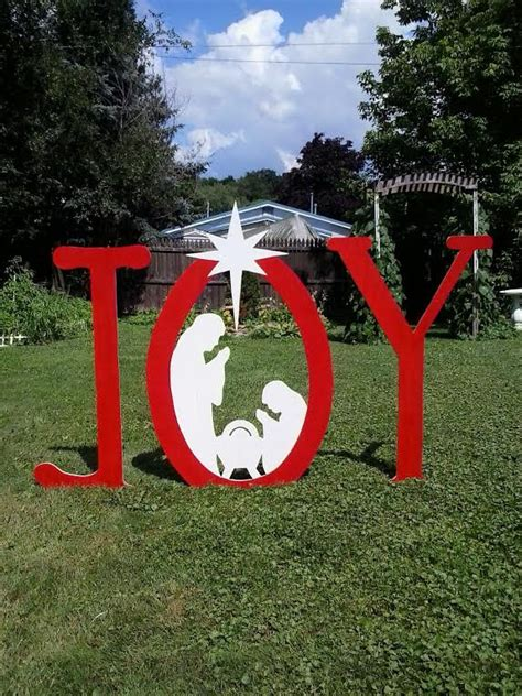 christmas joy outdoor nativity sign outdoor wood yard art lawn