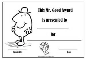 award certificates with the mr men