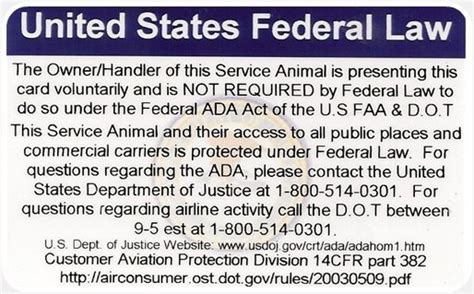 printable service dog id cards wiredog ada federal law information card