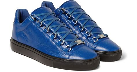 balenciaga shoes on sale lyst balenciaga arena creased leather sneakers in blue