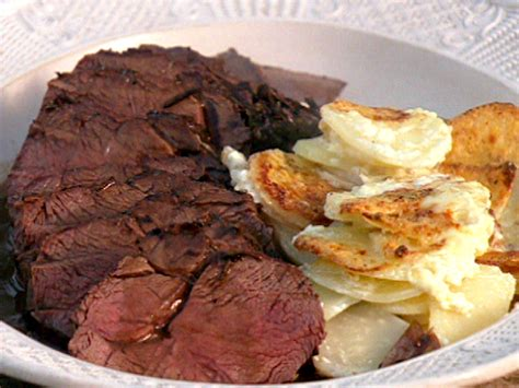 food with venison pan roasted venison with baked potato and celeriac recipe food network