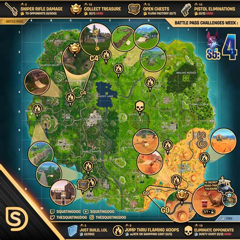fortnite week 4 challenges sheet map for fortnite battle royale season 5 week