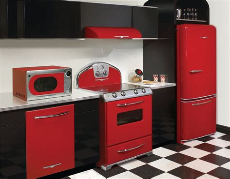 red appliances  kitchen kitchen  residential