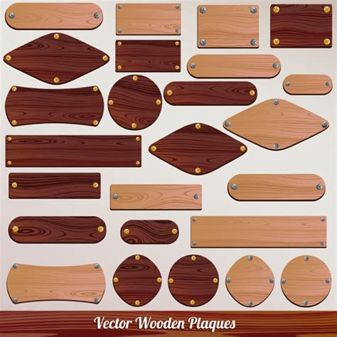 Set Of Wooden Plaques Labels Vector 01 Over Millions Vectors Stock Photos Hd Pictures Psd Plaque Template Photoshop